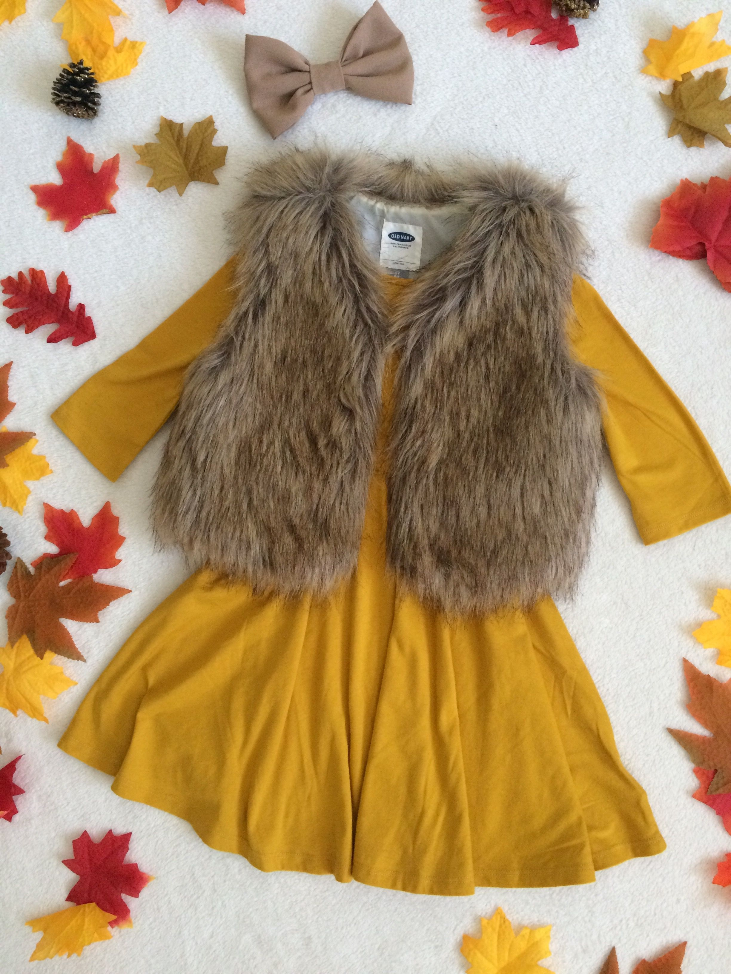 Fall outfit fur vest kids outfit old navy mustard dress fall