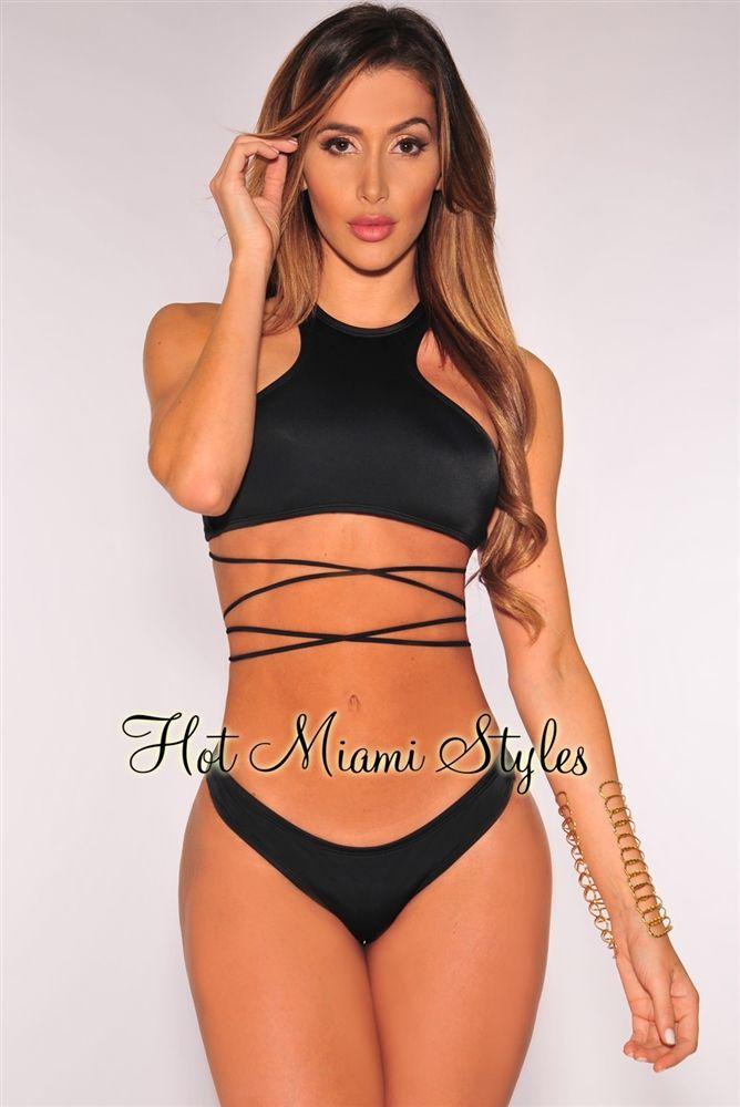 Sports & Entertainment Black Lace Mesh Push Up Swimsuit Womens Swimming Suit Lacing Bandage Bottom Bikini Summer Swimwear Bathing Suit