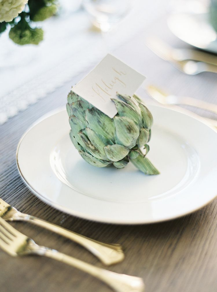Artichoke place card holders Katie Grant Photography
