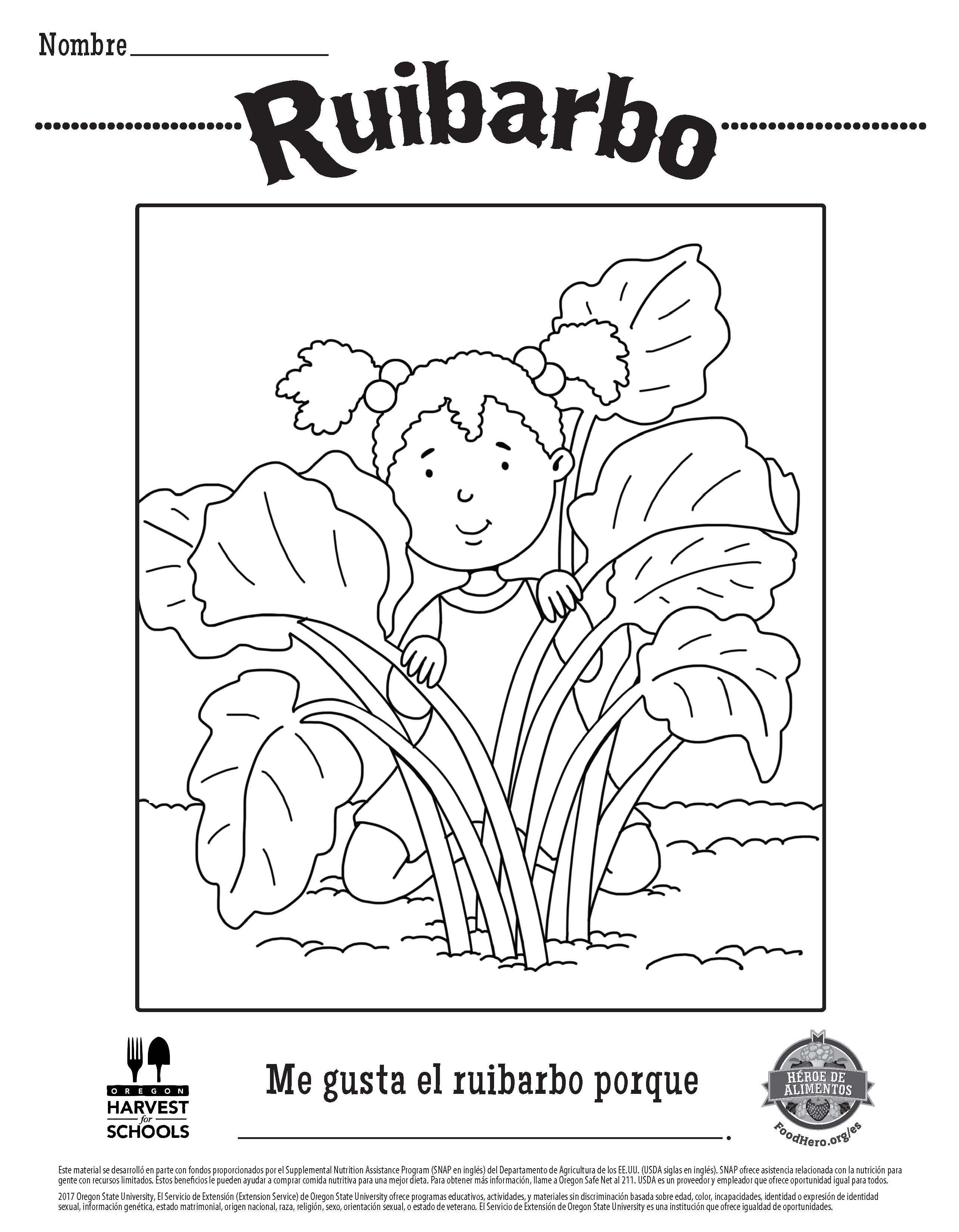 Rhubarb Free Printable Children\'s Coloring Sheet Food Hero in ...
