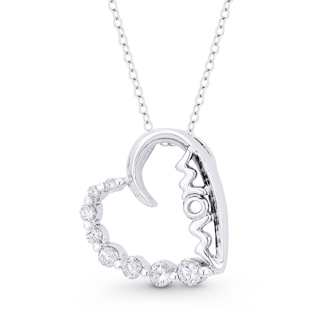 Sterling Silver Jewelry Pendants /& Charms Solid Polished CZ Chain Slide Pendant