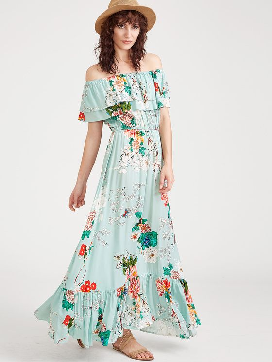 330964508747 Online shopping for Flower Print Elastic Waist Ruffle Bardot Dress from a  great selection of women s fashion clothing   more at MakeMeChic.COM.