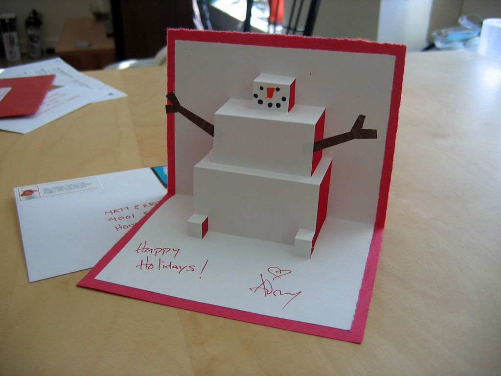 Lovely Easy To Make Pop Up Cards Part - 4: Cute Snowman Pop Up Card. Pop Up Cards Are Easy To Make And Fun For