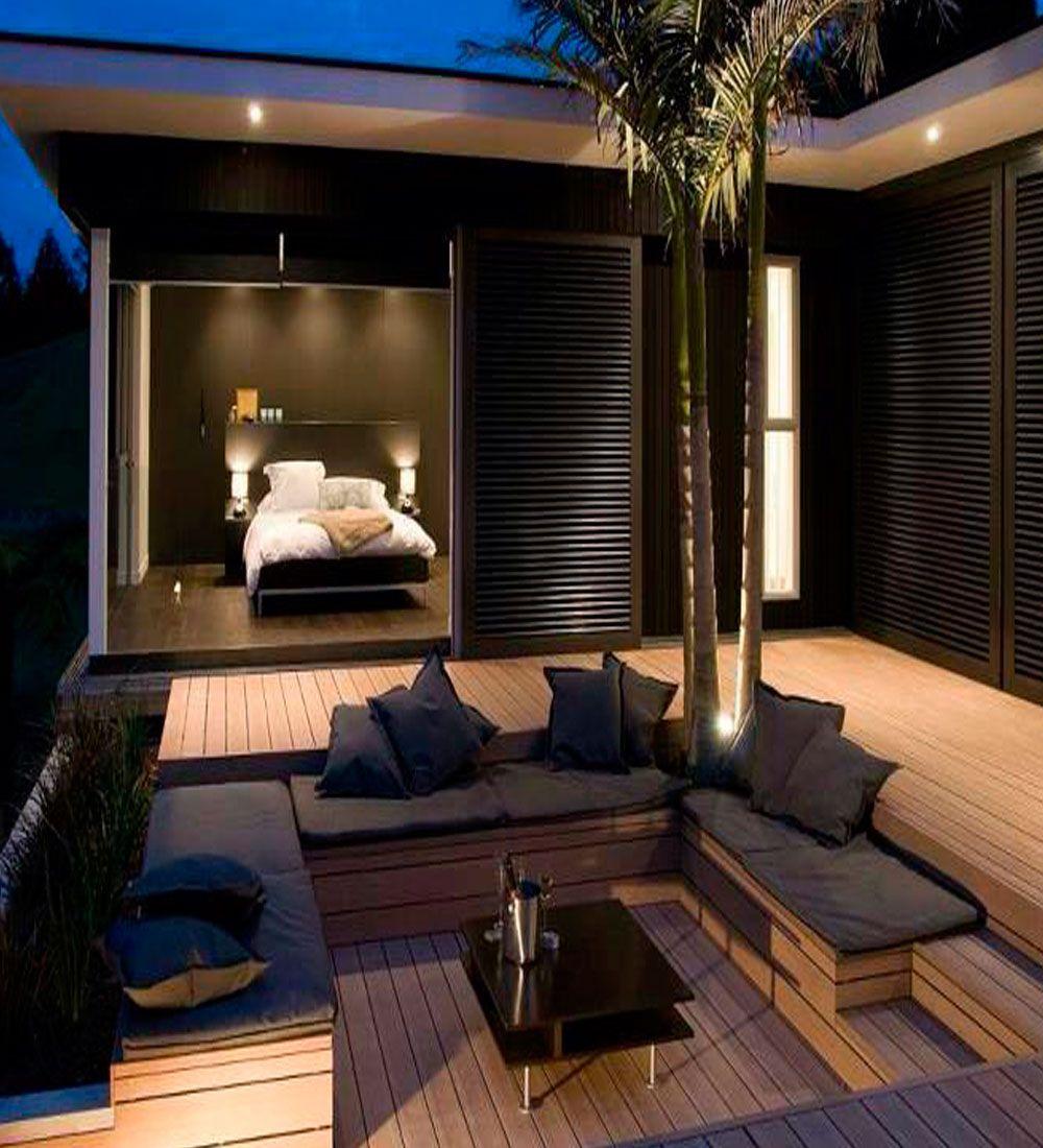 Iluminaci n para exteriores modern courtyard outdoor for Jardines exteriores