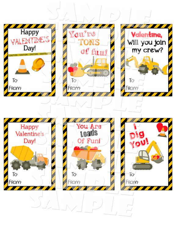 Printable Construction Valentine Cards Boys Valentines Day Cards