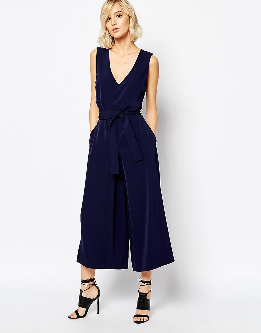 image 1 of gestuz adie soft tailored jumpsuit with tie waist mega cool pinterest n hen. Black Bedroom Furniture Sets. Home Design Ideas