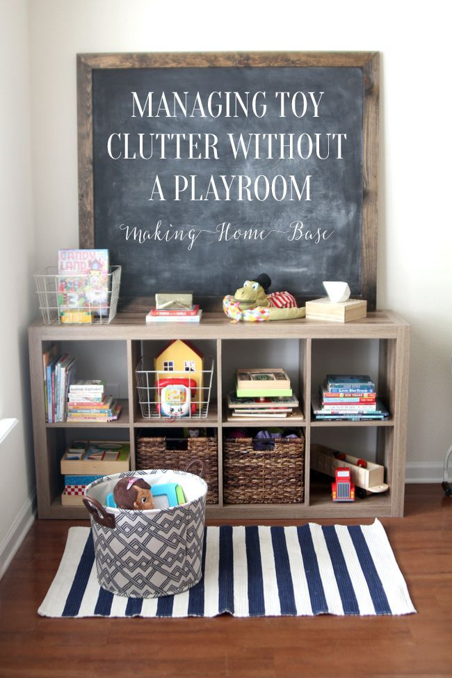How To Manage Toy Organization When You Don T Have A Playroom Kids Room Organization Playroom Organization Toy Rooms