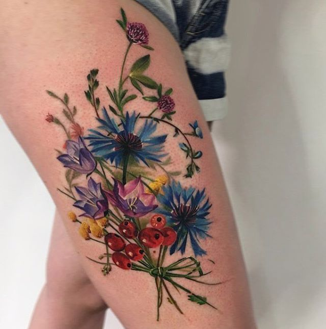 Floral Bouquet Back Tattoo: @_rostra_ Bouquet Of Wildflowers