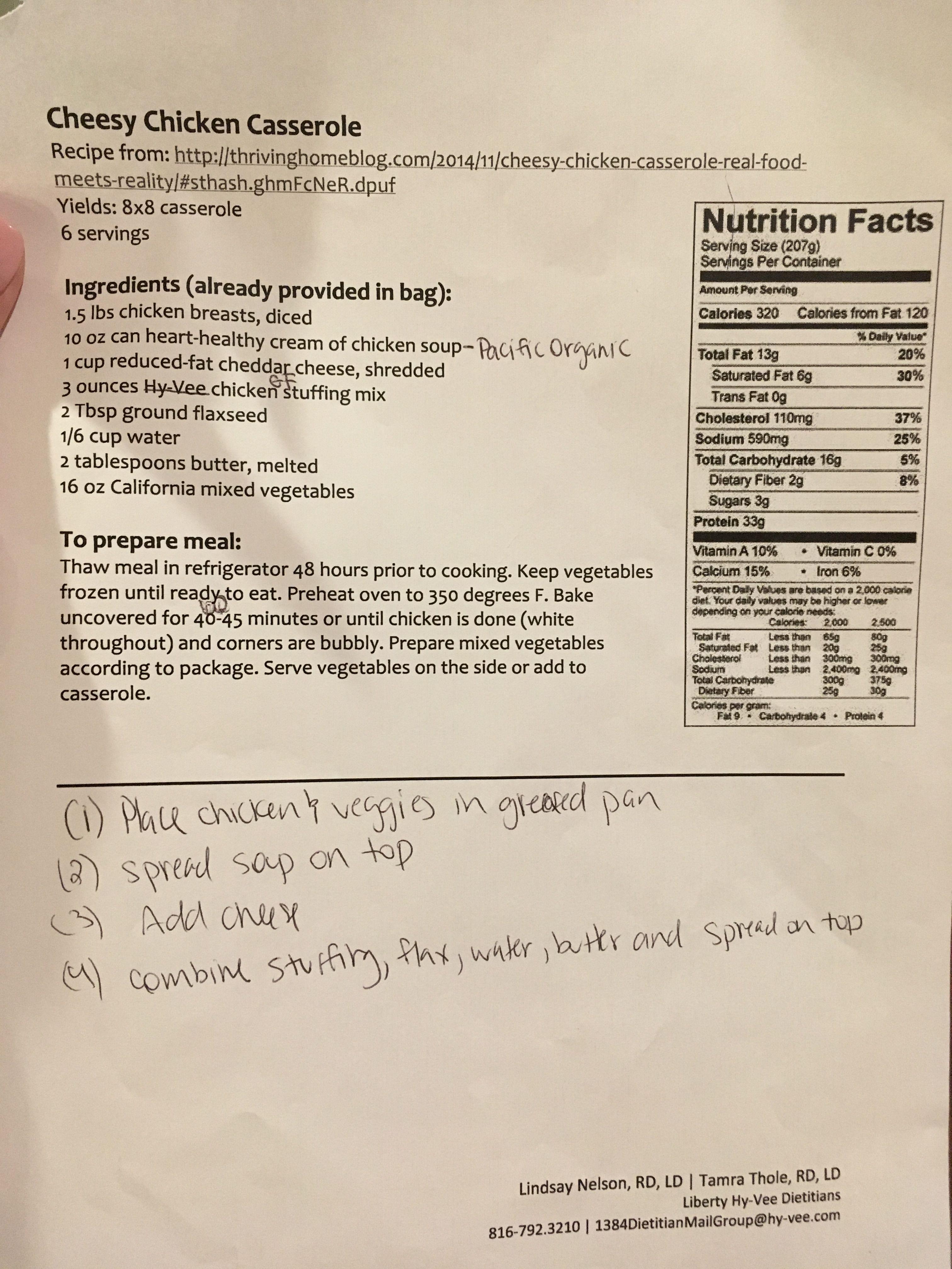 Healthy Cheesy Chicken Casserole Freezer Meal