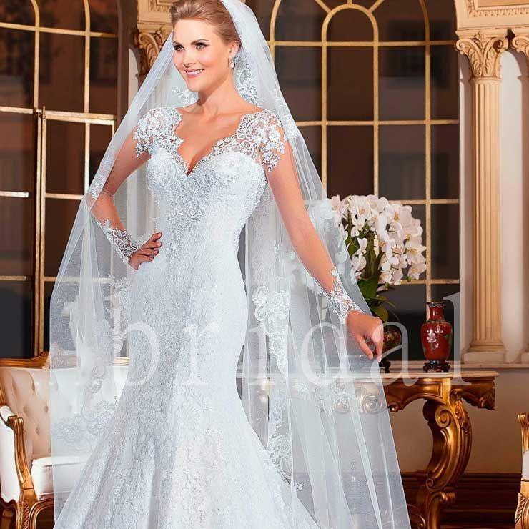Vestido de Noiva com Véu Longo | Vestido de Noiva Longo | Pinterest