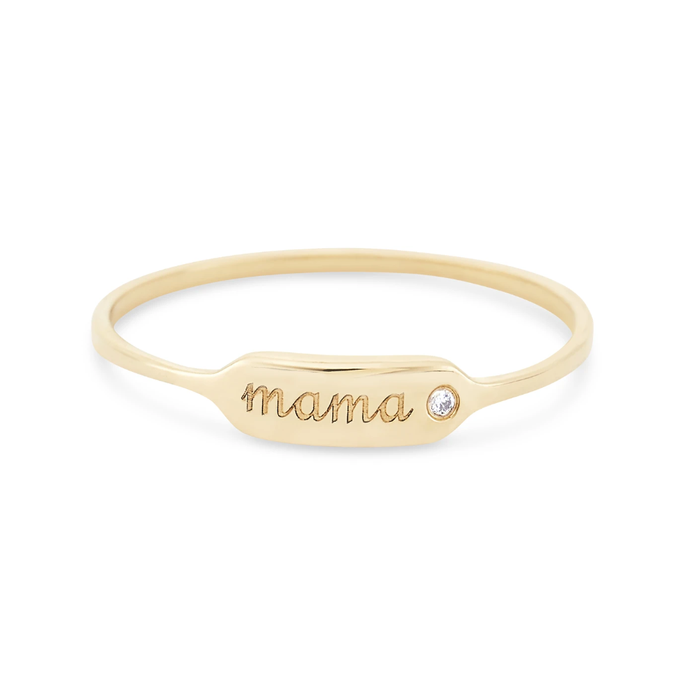 Photo of Mama Namesake Ring – 14k Gold, White Diamond