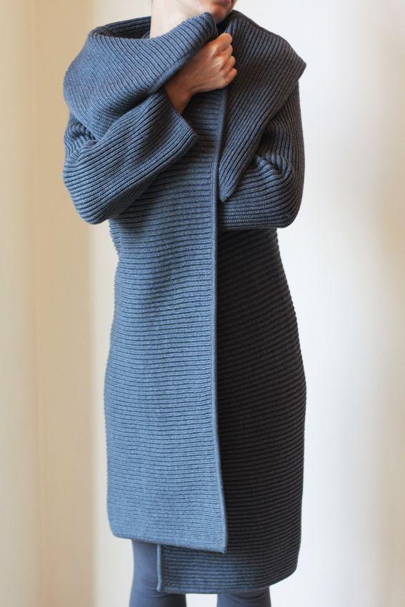 pattern cappotto a maglia donna