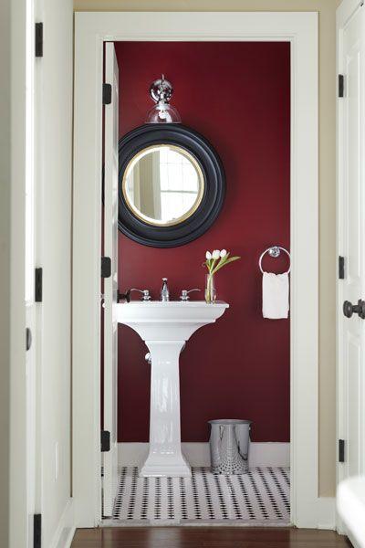 Half Baths Full Of Style Small Bathroom Small Bathrooms And - Burgundy bathroom decor for small bathroom ideas