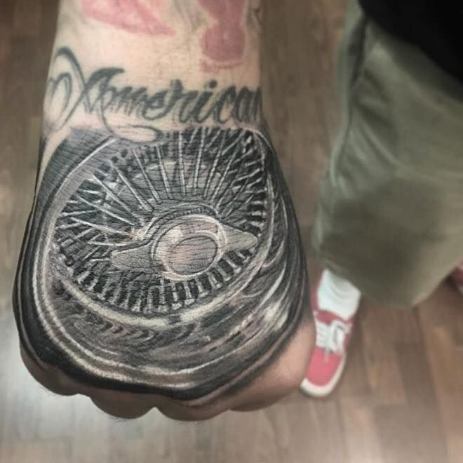 d5e230b1943a0 Dayton rim on the hand by Nate Anderson at Bearcat Tattoo Gallery ...