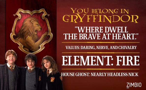 Gryffindor   Which Hogwarts House Do You Belong In?   Zimbio. Yay I Got