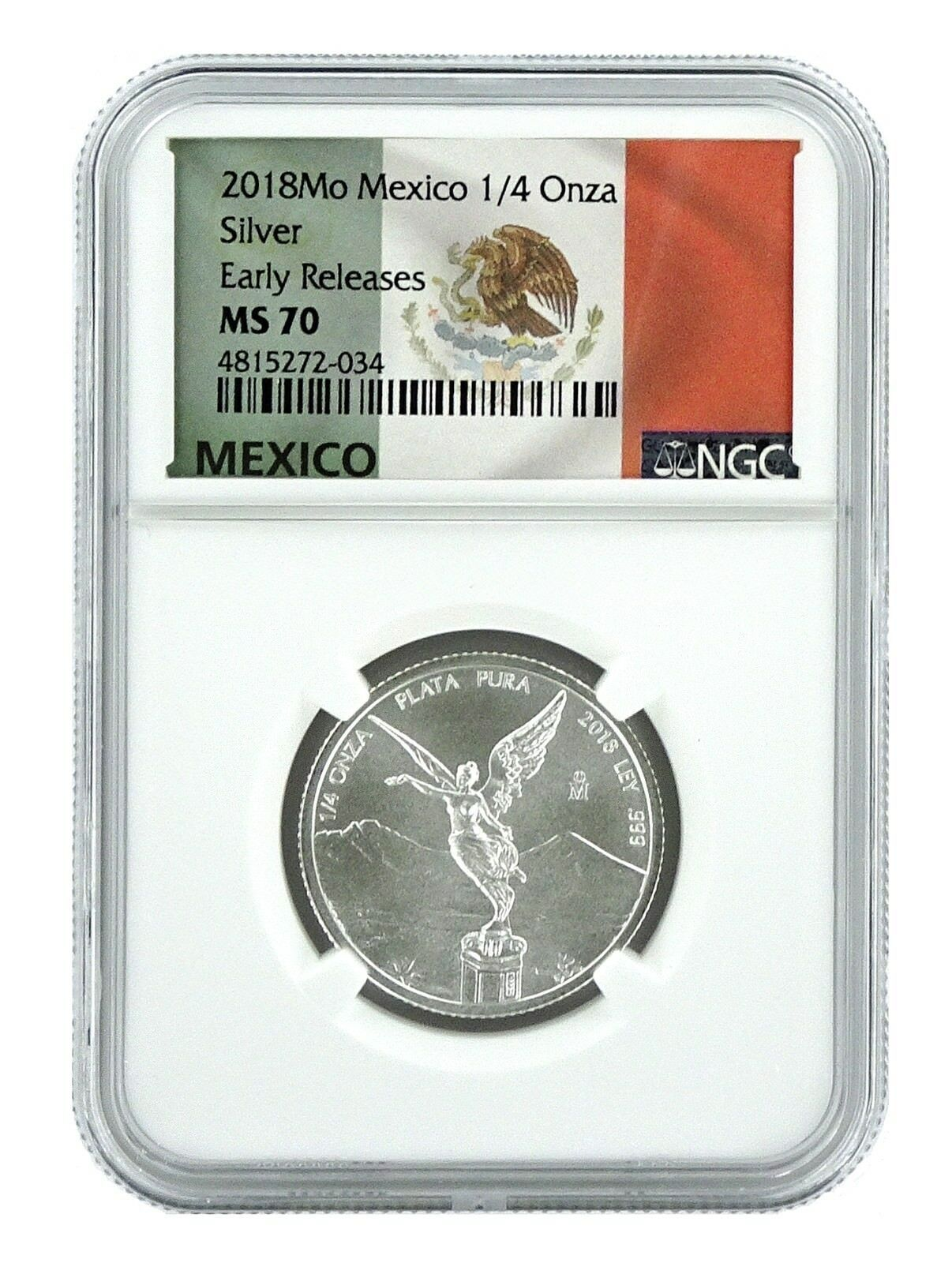 2018 Mexico 1 4oz Silver Onza Libertad Ngc Ms70 Early Releases Flag Label Ebay In 2020 Silver Eagles Silver Eagle Coins Gold Ounce