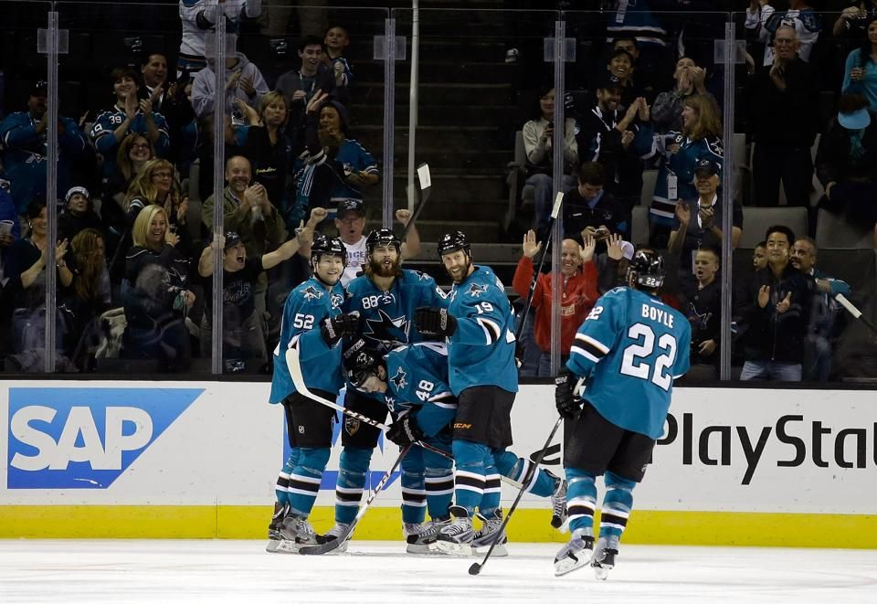 The San Jose Sharks celebrate rookie forward Tomas Hertl's first period goal (Oct. 12, 2013).