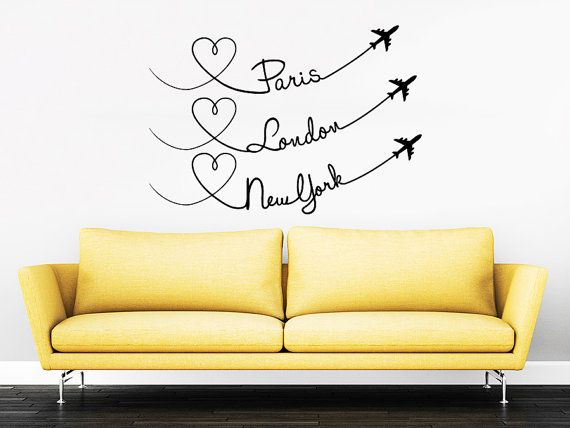 Paris London New York Quote Wall Decal Vinyl Stickers Decals Home ...