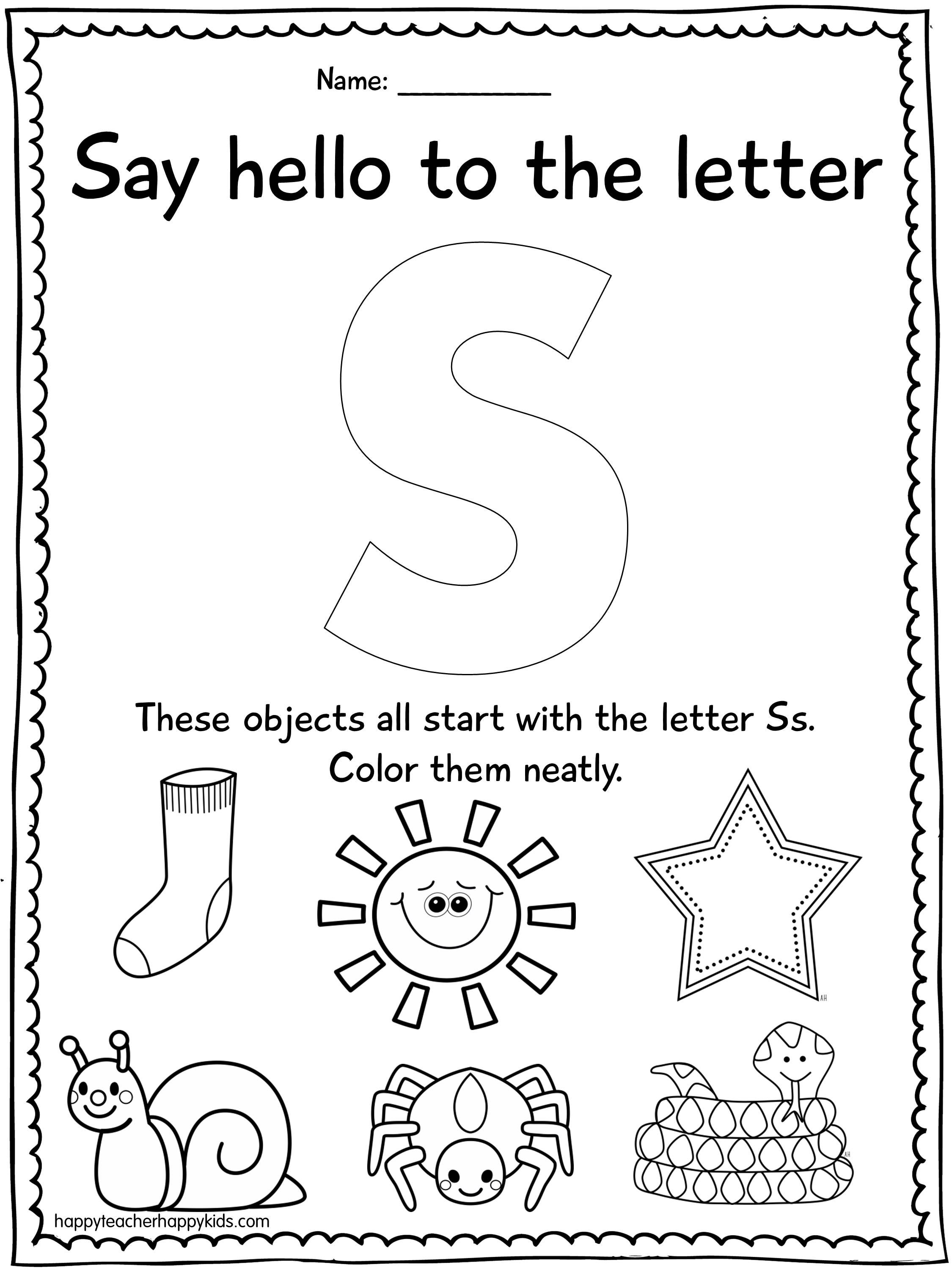 Alphabet activities for the letter S perfect for
