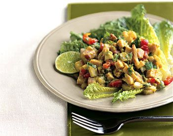 Turkey Chopped Salad with Spicy Avocado Dressing  I think this will be dinner tonight! I will use some leftover Turkey....