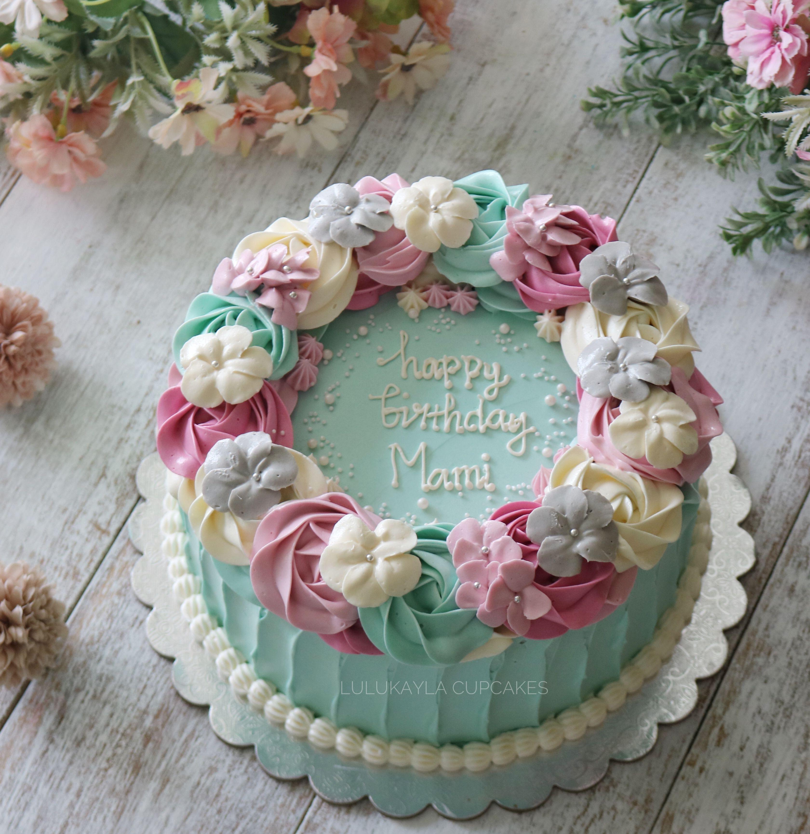 Flower Buttercream Cake Buttercream Cake Designs Cake Decorating Icing Buttercream Birthday Cake