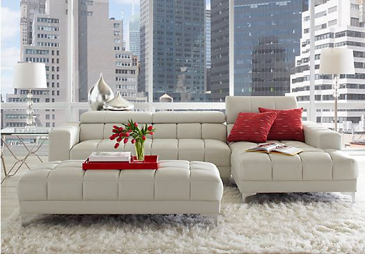 Lovely Picture Of Sofia Vergara Sybella Off White 3 Pc Sectional Living Room From  Leather Sectionals Part 30