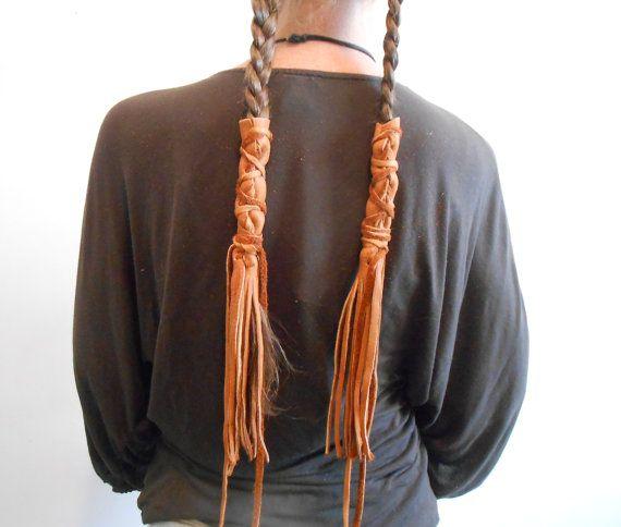 Handmade Leather Braid Wraps Fringe Hair by FaeMoonWolfDesigns
