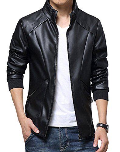 Slim Stand Up Clothing Mens Men's Leather Collar Jacket Kiwen Faux wfItqqz