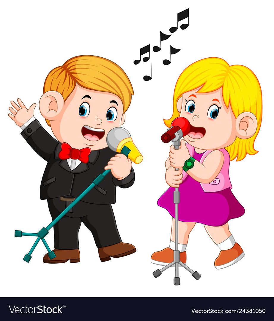 Illustration Of Cute Funny Couple Emotionally Singing Songs Download A Free Preview Or High Quality Adobe Illustrator Ai E Kids Clipart Singing Childrens Art