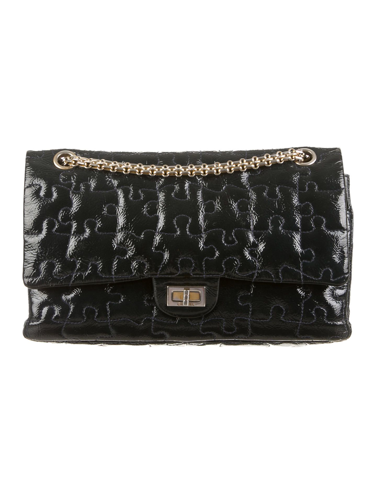 509789a02058 Evergreen patent leather Chanel Reissue 226 Puzzle Flap bag with gold-tone  hardware, Venetian