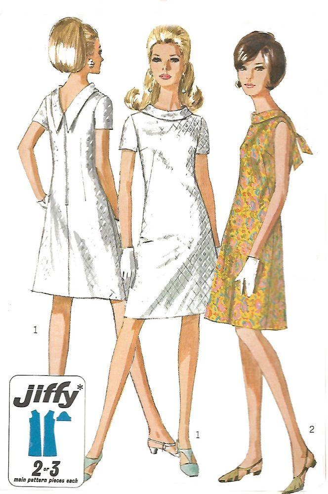 Vintage 1960\'s Sewing Pattern Jiffy Dress A-Line V-Back Dress MOD ...