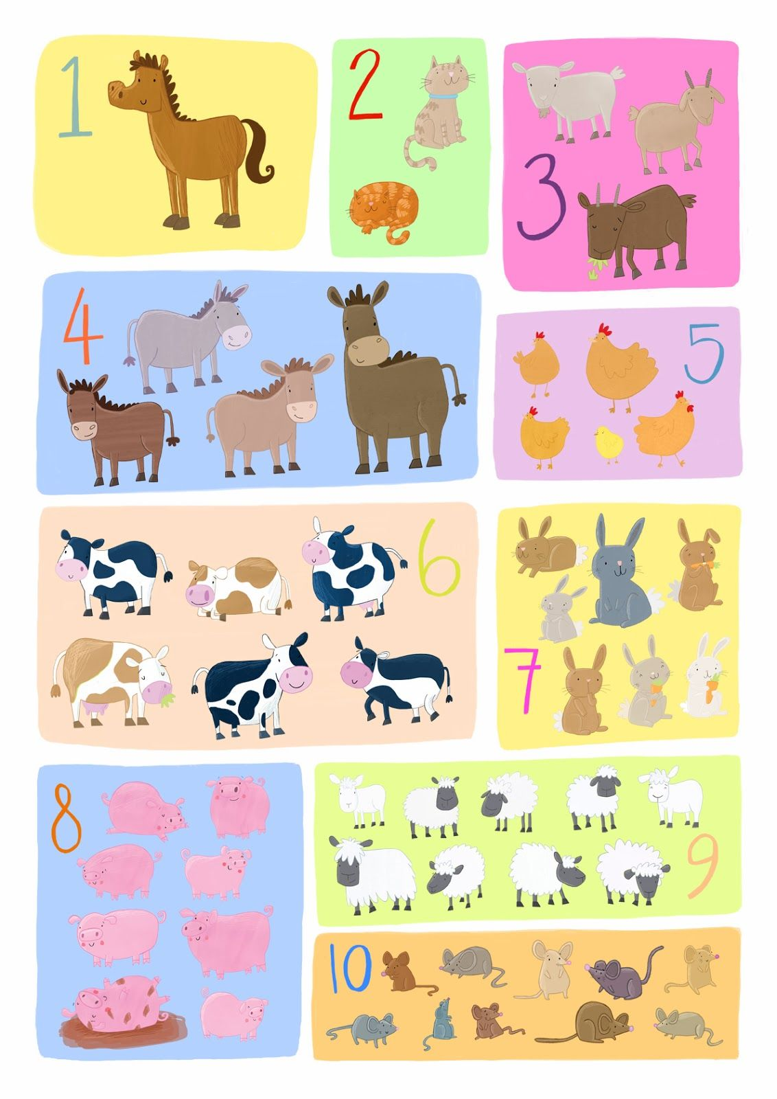 Farm Counting Poster Becky Down Illustration