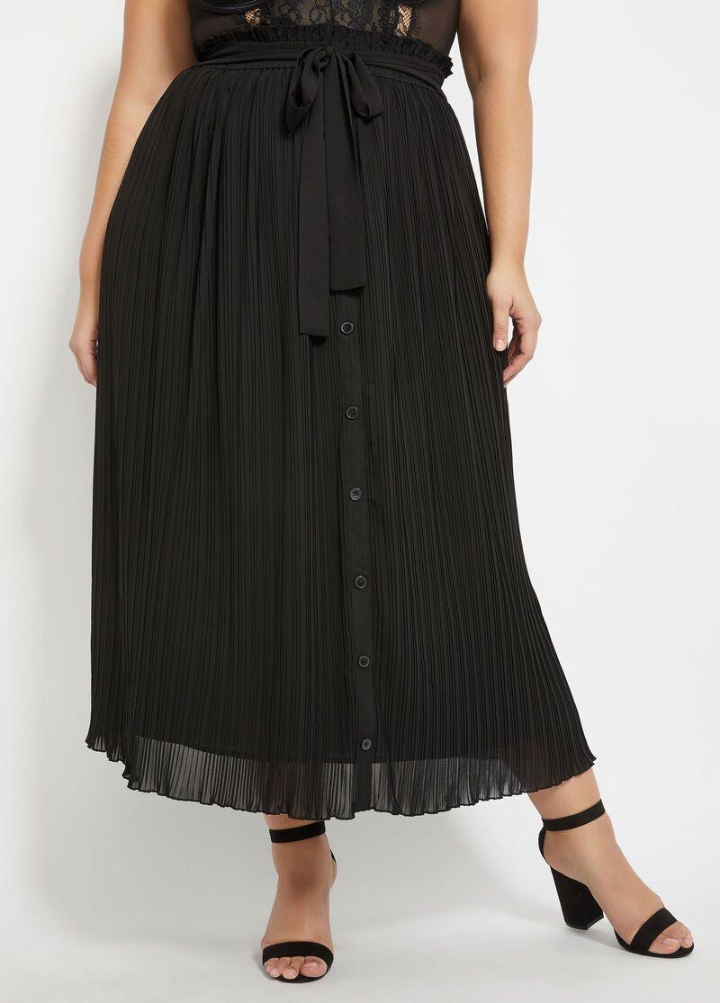 Belted Plisse Skirt