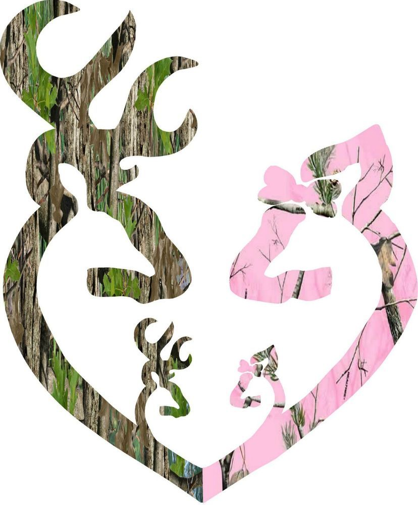 Pink Camo Dad Mom 2 girls Decal Decals Sticker Real Tree DEER Head Family Camo