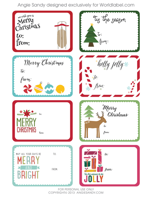 Current image regarding free printable christmas gift tags templates