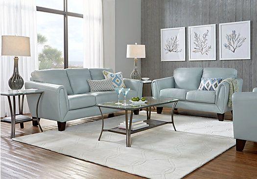Livorno Aqua Leather 7 Pc Living Room In 2020 Leather Living
