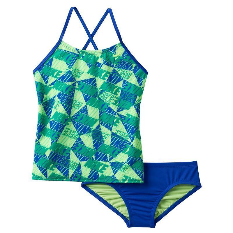 7f3e479e9489c Girls 7-14 Nike Cross-Back Graphic Tankini Swimsuit Set, Girl's, Size: 12,  Blue (Navy)