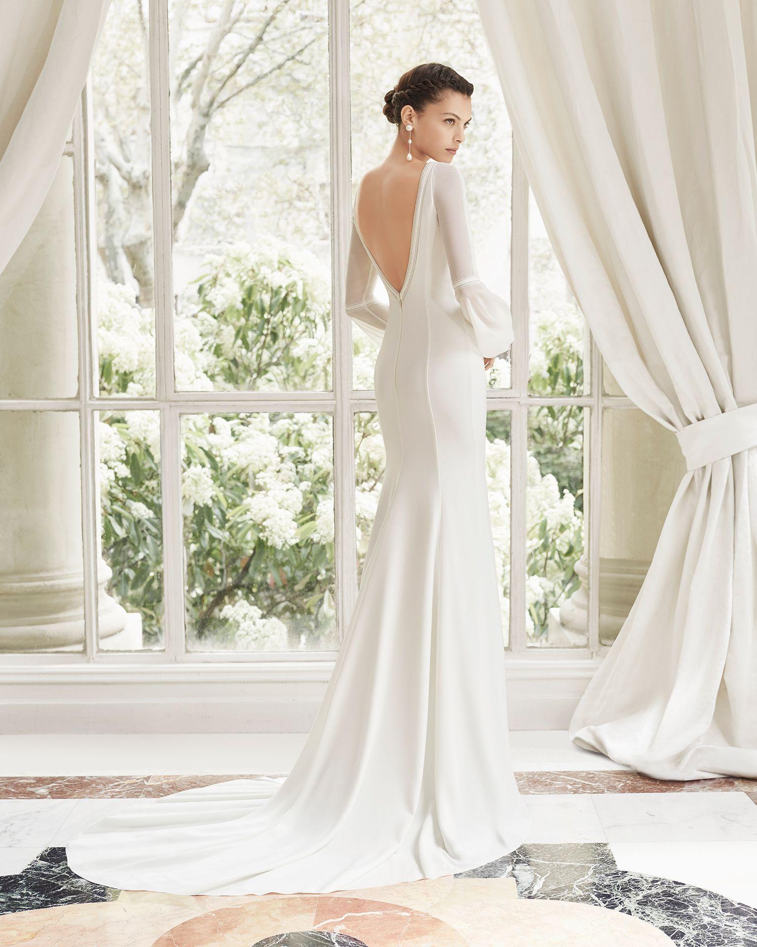 Silk sheath wedding dress  MADONA  Bridal  ROSA CLARA COUTURE Collection  Rosa Clará