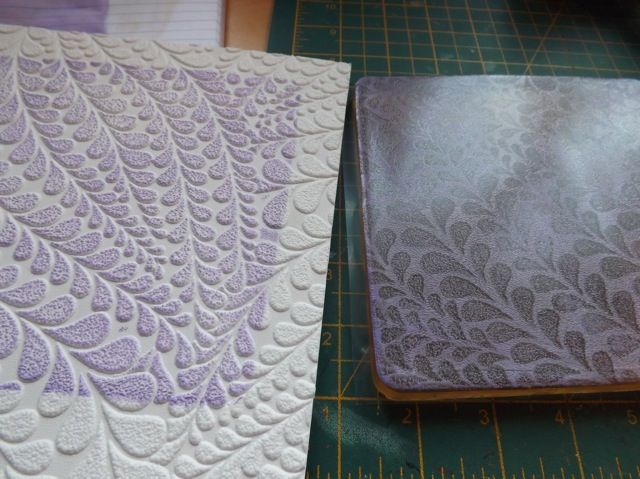 Gelli plate and textured wallpaper