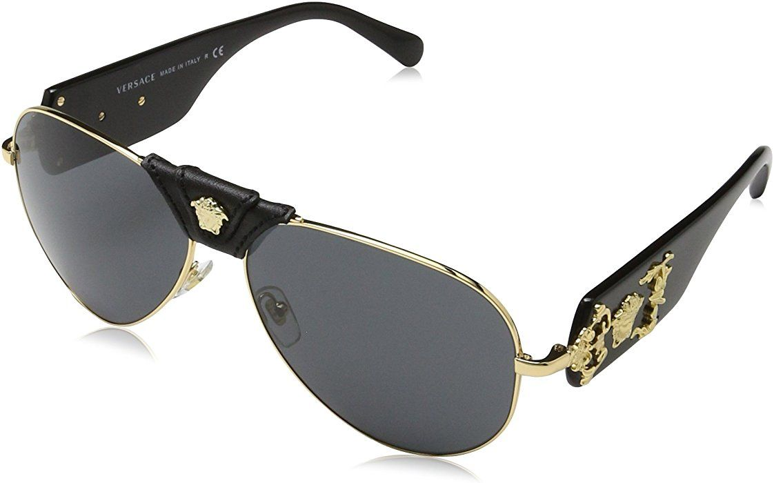 28c87865fe98 Versace VE2150Q - 100287 Gold/Black Aviator Sunglasses 62mm free shipping  with Amazon Prime