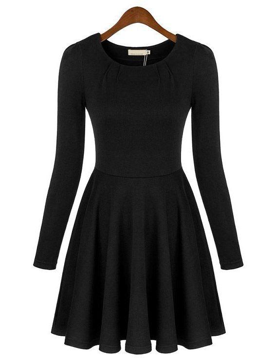 Black Round Neck Long Sleeve Slim Pleated Dress Sheinside Com Vestidos De Manga Larga Vestidos Plisados Ropa