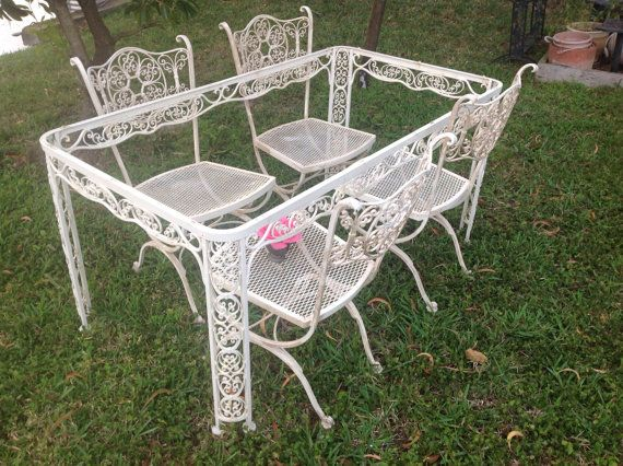 Garden Furniture Shabby Chic reserved for joyshabby chic woodard wrought iron table and 2