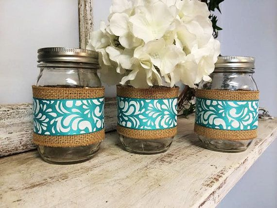 Set of 3 Burlap and Teal/Aqua Wrapped Mason Jars. Perfect for Gifts, Home Decorations, Weddings, Storage, and MORE