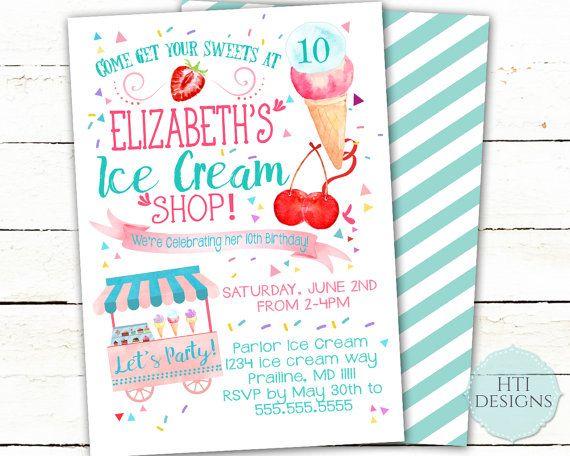 Ice Cream Invitation- Ice Cream Social Invitation- Ice Cream Party