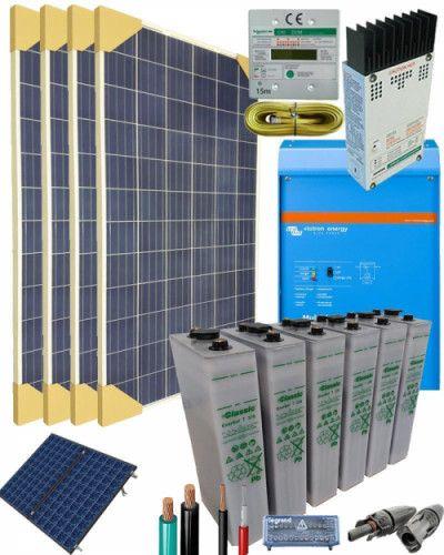 Kit Solar Vivienda Aislada 1600w 12v 4000whdia Energia Solar Consejos Para Limpiar El Coche Kit Solar