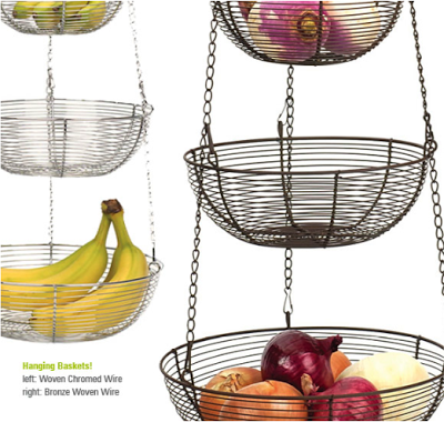 Hanging Wire Baskets With Fruit Onions Etc