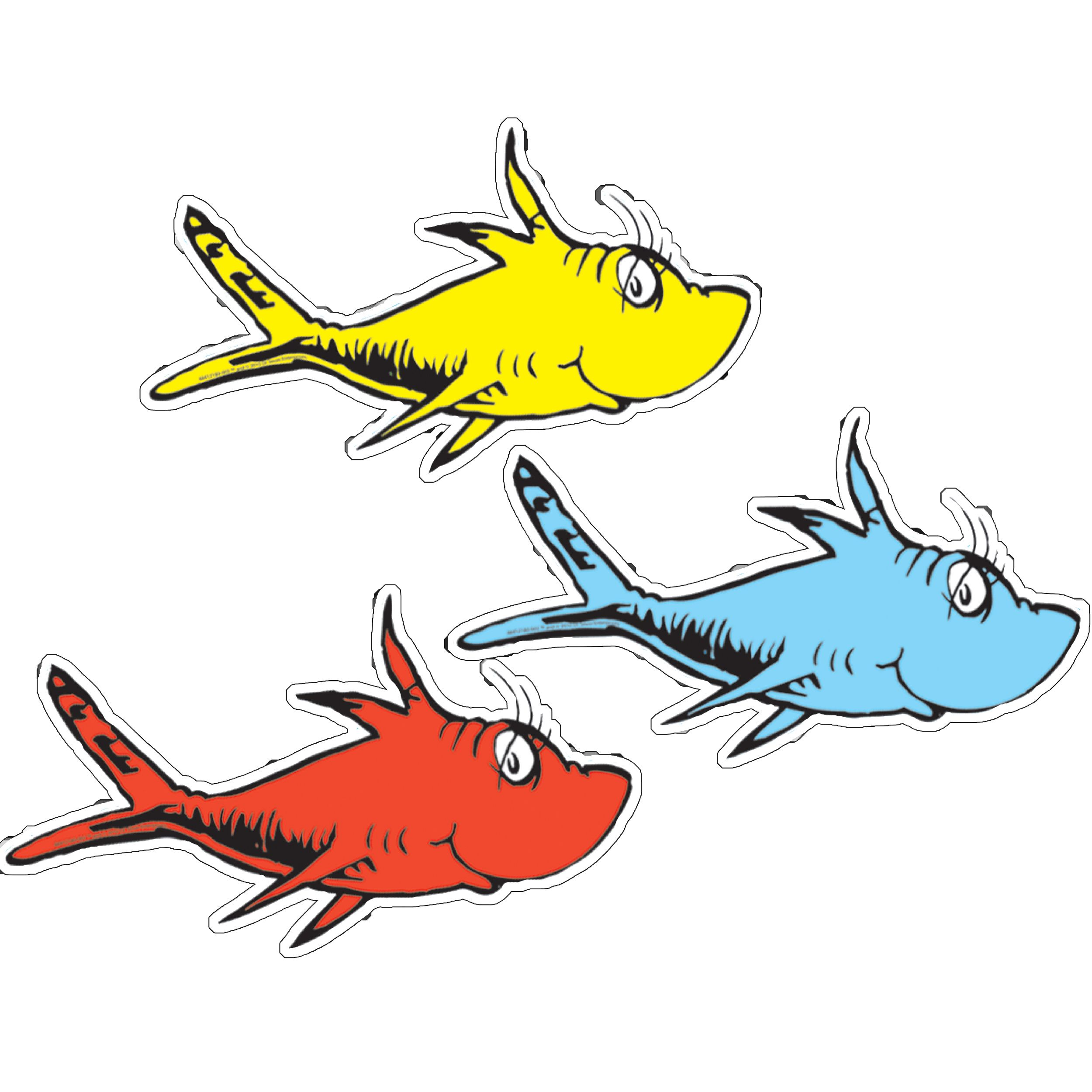 Dr Seuss One Fish Two Fish Assorted Paper Cut Outs