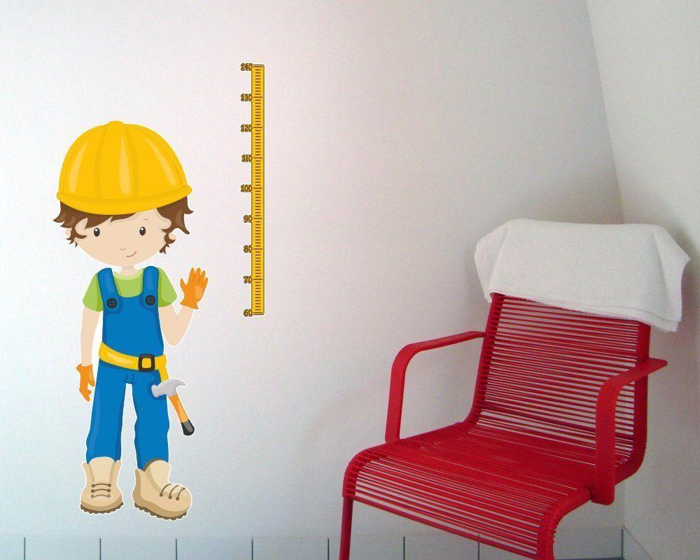 Messlatte Bauarbeiter | Wandtattoo Wandaufkleber für ein ...