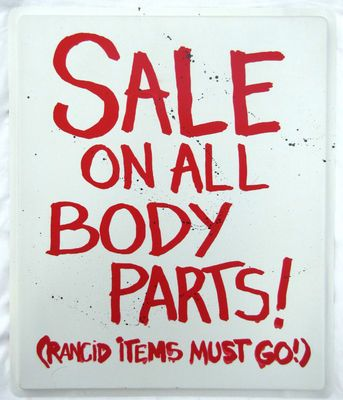 Sale Body Parts Road Sign Zombie Halloween Decoration Prop NEW Just