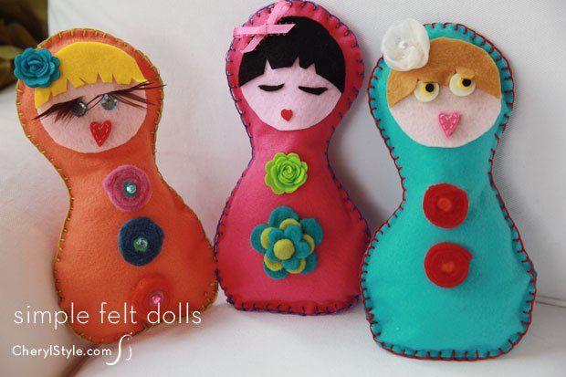 Easy DIY blanket stitch felt dolls